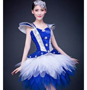 Royal blue white patchwork ruffles skirted women's ladies modern dance jazz singer ds night club bar performance dancing dresses