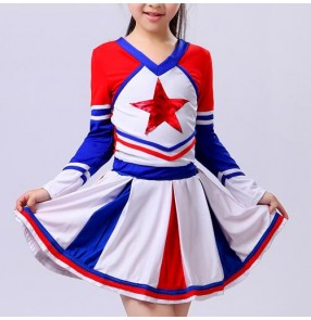 Royal blue white red Aerobics Basketball Football girls children kids school sports dance performance cheer leading clothes cheerleader uniforms outfits