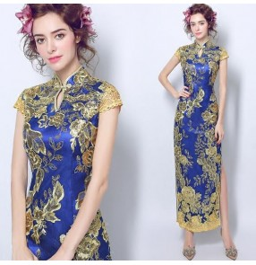 Royal blue with gold embroidery pattern women's ladies performance wedding bridals evening cocktail party long length cheongsam dresses vestidos