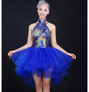 Royal blue yellow red damask dragon pattern fashion organza skirt patchwork women's girls performance modern dance folk drummer play cos play performance dresses outfits