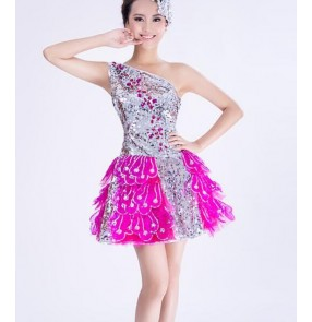 Silver and fuchsia sequins paillette glitter women's girls stage performance singer dancers classy dj party cosplay dancing dresses outfits costumes