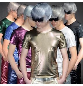 Silver black gold green royal blue glitter leather men's male fashion jazz hot dance dancers singers ds night club bar  dance tops t shirts