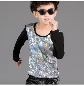 Silver black patchwork sequins paillette long sleeves boys kids children jazz singer drummer hip hop competition dance tops t shirts