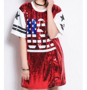 Silver black red sequins paillette women's girls modern dance fashion hip hop jazz singer performance dancing tops t shirts