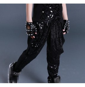 Silver black sequins glitter paillette long length boys kids children competition performance hip hop jazz drummer dancing harem pants