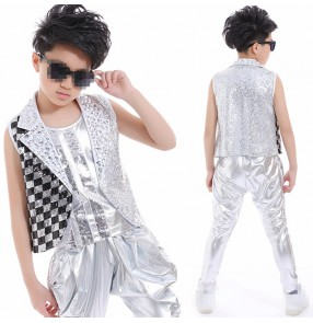 Silver black sequins rhinestones glitter performance competition boys kids children hip hop singers show dance outfits