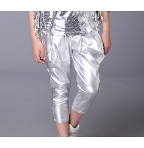 Silver glitter boys kids children fashion school  competition performance hip hop jazz dance harem pants