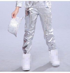 Silver glitter boys kids children modern jazz hip hop drummer ds singer performance competition dancing pants trousers