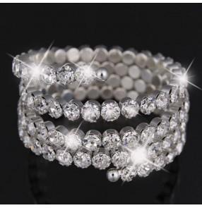 Silver glitter rhinestones performance girls women's shiny latin ballroom dance hand wrist band bangles arm band