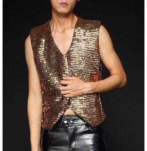 Silver gold black green patchwork sequins paillette men's  male modern dance fashion hot dance singer jazz hop hop night club performance vests tops