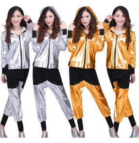 Silver gold black patchwork leather glitter fashion girls women's performance hip hop jazz singer cheer leading dancing outfits hoddies costumes