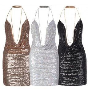 Silver gold black sequins halter neck paillette glitter sexy fashion backless competition performance jazz singer dj ds night club bar party dance dresses costumes