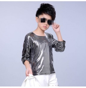Silver gold glitter long sleeves stage performance fashion modern dance boy kids children hip hop jazz drummer t shirt tops