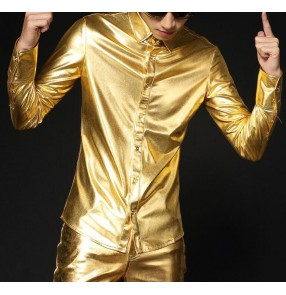 Silver gold patent leather glitter men's male jazz modern dance youth growth singer performance hip hop night club bar dance shirts tops