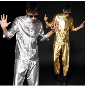 Silver gold patent leather glitter stage performance boys men's modern dance hip hip jazz singer night club dancing outfits clothes