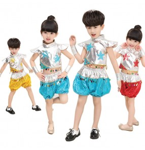 Silver gold yellow turquoise red patchwork sequins modern dance boys girls kids children jazz dance outfits costumes