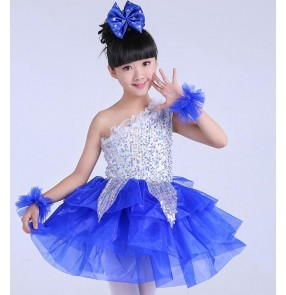 Silver green purple violet fuchsia white yellow ruffles skirted girls princess competition performance jazz modern party dancing dresses clothes