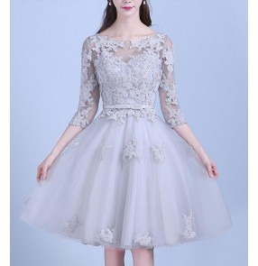 Silver lace appliques half sleeves  A line double shoulder women's ladies wedding  bridal evening party dresses costumes