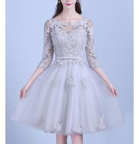 Silver lace appliques half sleeves  A line double shoulder women's ladies wedding  bridal evening party dresses costumes