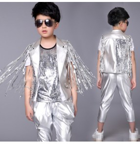 Silver leather fashion glitter sequins fringes boys kids children school competition drummer jazz hip hop dance vests waistcoats