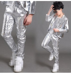 Silver leather glitter rivet fashion boys kids children competition performance jazz hip hop singers drummer dance pants