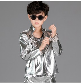 Silver leather rivet fashion boys kids children school stage performance hiphop jazz cos play party dancing outfits tops jackets
