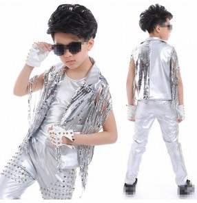 Silver leather sequins fringes waistcoat rivet pants boys kids school competition performance drummer dancers outfits
