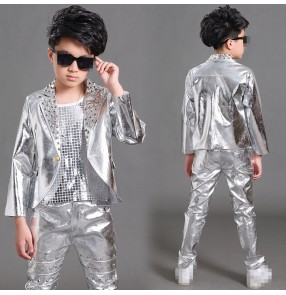 Silver leather sequins lapel rivet fashion boys kids child school drummer jazz singers hip hop orchestra performance jackets