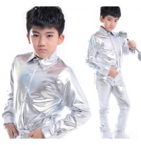 Silver patent leather turn down collar long sleeves boys kids children stage performance drummer contest jazz hip hop  singer dance shirts tops