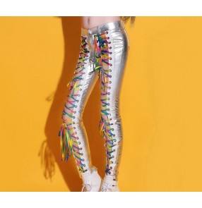 Silver pu leather glitter rainbow strap hollow front leg women's ladies female sexy competition cos play party performance hip hop singer jazz dancing pants trousers