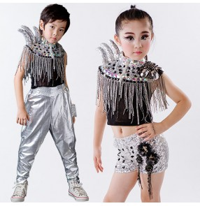 Silver pu leather harem pant s fringes rhinestones shrug shoulder tops girls boys kids children stage performance competition jazz hip hop dancing outfits