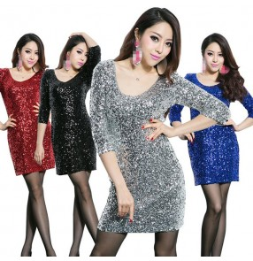Silver red black royal blue gold hot pink fuchsia middle long sleeves sequins glitter girls women's fashion hot dance stage performance jazz singer bar club  party cosplay dancing dresses outfits