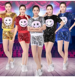 Silver red gold royal blue black sequins smile fashion girls women's stage performance jazz hip hop cos play dancing outfits clothes dancewear