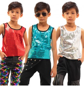 Silver red turquoise sequins paillette fashion boys kids children drummer orchestra performance vests tops