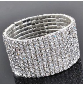 Silver rhinestones diamond glitter girls women's competition performance latin dance luxury hand bangles wrist chain band