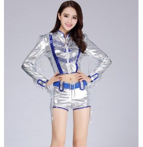 Silver royal blue women's Female jazz dance costume two pieces dance top dance shorts outfits