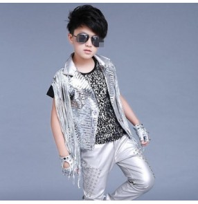 Silver sequins glitter patent leather lapel fashion boys kids children jazz singer drummer competition hip hop dancing vests waistcoats