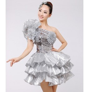 Silver sequins paillette glitter stage performance girls women's competition modern dance singer dancers jazz dancing dresses