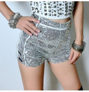Silver sequins paillette high waistline women's female girls sexy fashion stage performance singer dancing shorts