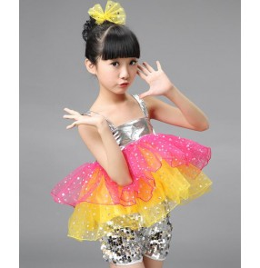 Silver sequins paillette rainbow colored glitter modern dance school competition kids children girls jazz singer dancers performance costumes outfits