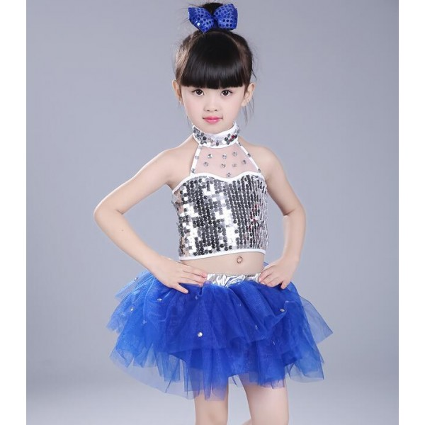 Silver Sequins Royal Blue Black Ruffles Skirts Girls Kids