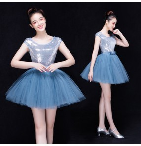 Silver sequins sleeveless paillette puff big tutu skirted women's girls modern dance singers stage performance bar club evening party performance outfits dresses