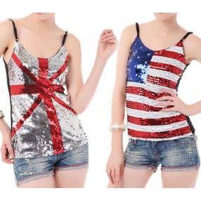 Silver striped sequined American European british flag pattern night club girls women's singers dancers performance shiny dance tops camisoles vests