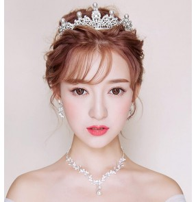 Silver white alloy beaded diamond rhinestones bridal bridesmaids women's ladies party crystal tiara crown head band necklace earrings sets