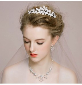 Silver white crystal rhinestones alloy women's ladies 3in1 wedding party bridal bridesmaids crown head band earrings necklaces tiara