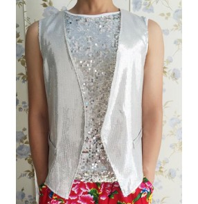 Silver white light pink sequins paillette fashion men's male competition stage performance jazz singer dancing vest tops waistcoats