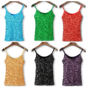 Silver white red green royal blue turquoise purple black fuchsia sequins paillette fashion girls women's jazz singer cosplay stage dancing short vests tops