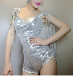 Silver white sequins paillette  fringes shoulders sexy fashion women's girls stage club ds cos play performance hot jazz singer hip hop dancing leotards bodysuits jumpsuits outfits
