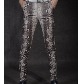 Snake printed pattern slim fashion men's male night club bar dj ds bar jazz motor cycle singer dancers leather dance pencil pants trousers