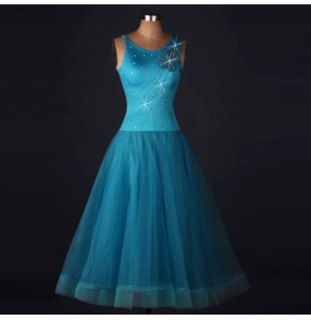 Turquoise blue backless sleeveless diamond rhinestones competition stage performance women's ladies long length tango waltz ballroom dancing dresses outfits